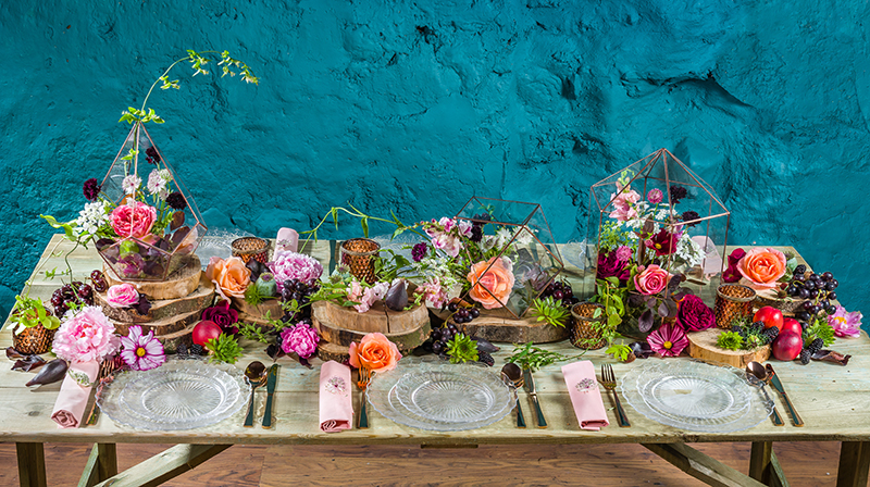 Colourful tablescape