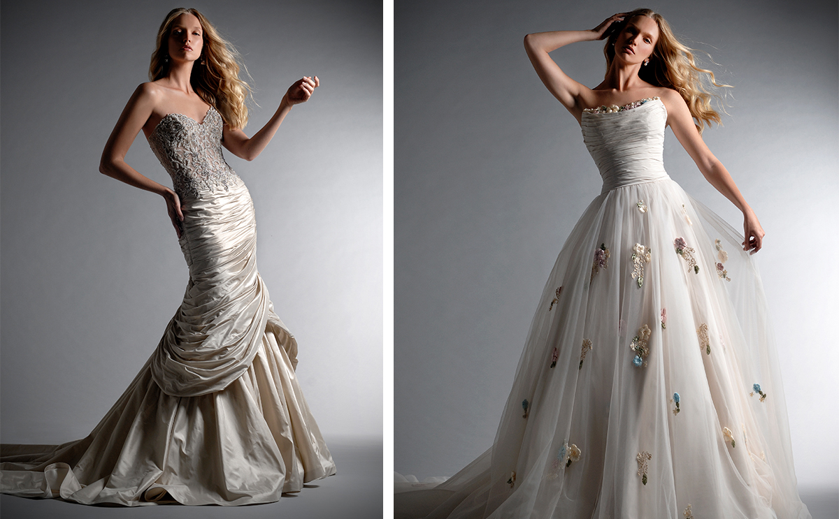 [From left] Donatella and Soutache, Ian Stuart Bride, available at Isobel Florence Bridal