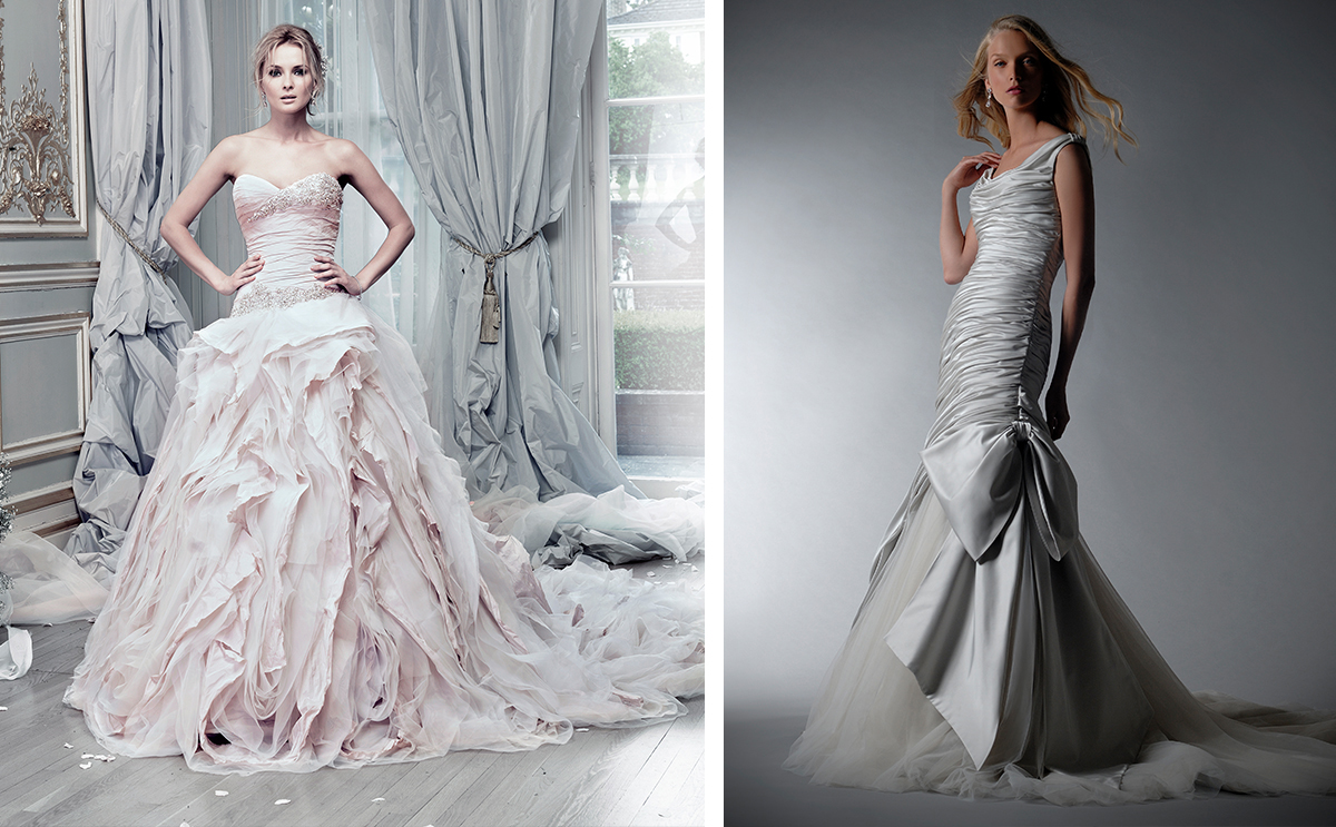 [From left] Pracatan and Dorchester, both Ian Stuart Bride, available at Isobel Florence Bridal