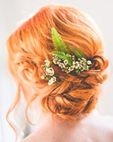 Red bridal hair
