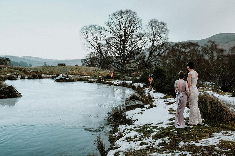 Brides at lake