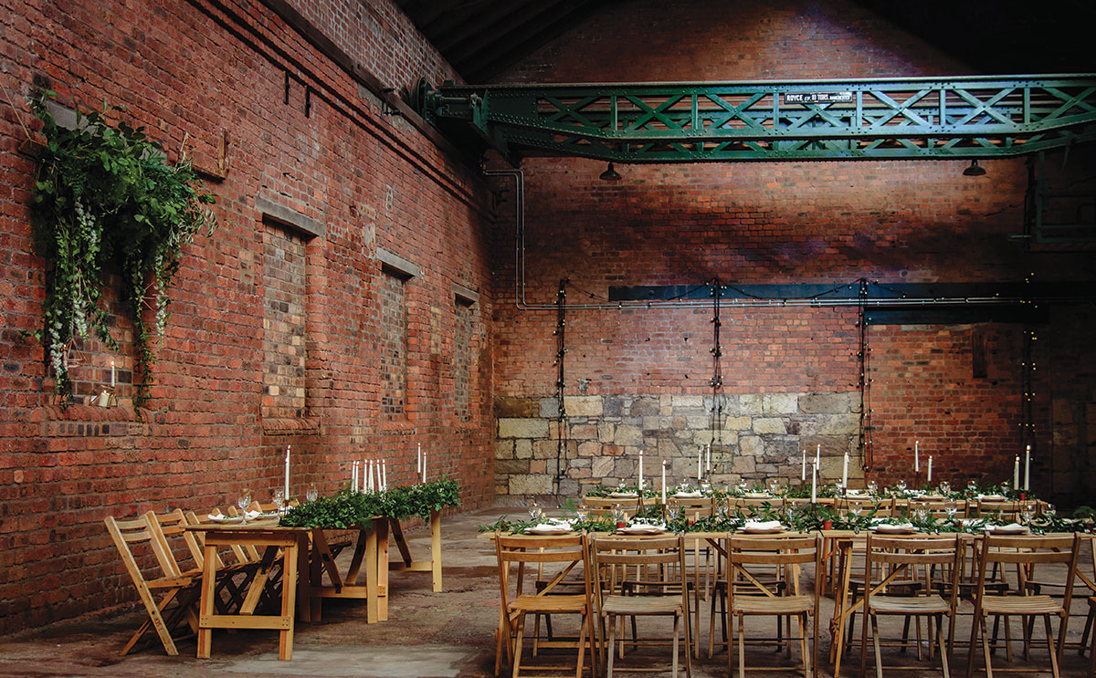 The Engine Works, exposed brick blank canvas