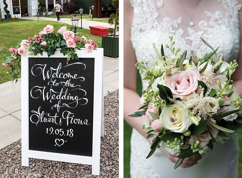 Wedding sign and flowers