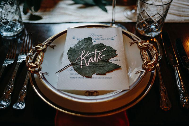 Leaf on table setting