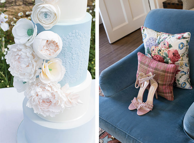 Cake and chair with pillows