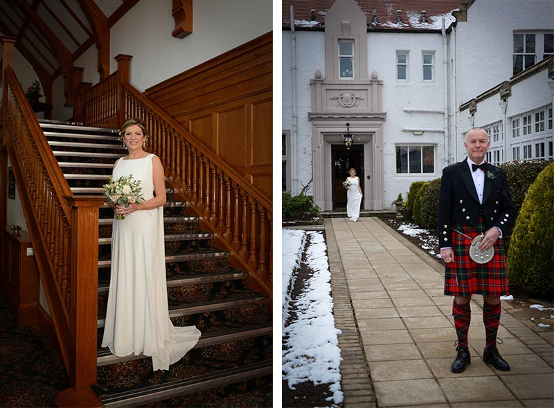 Bride on stairs and groom in garden