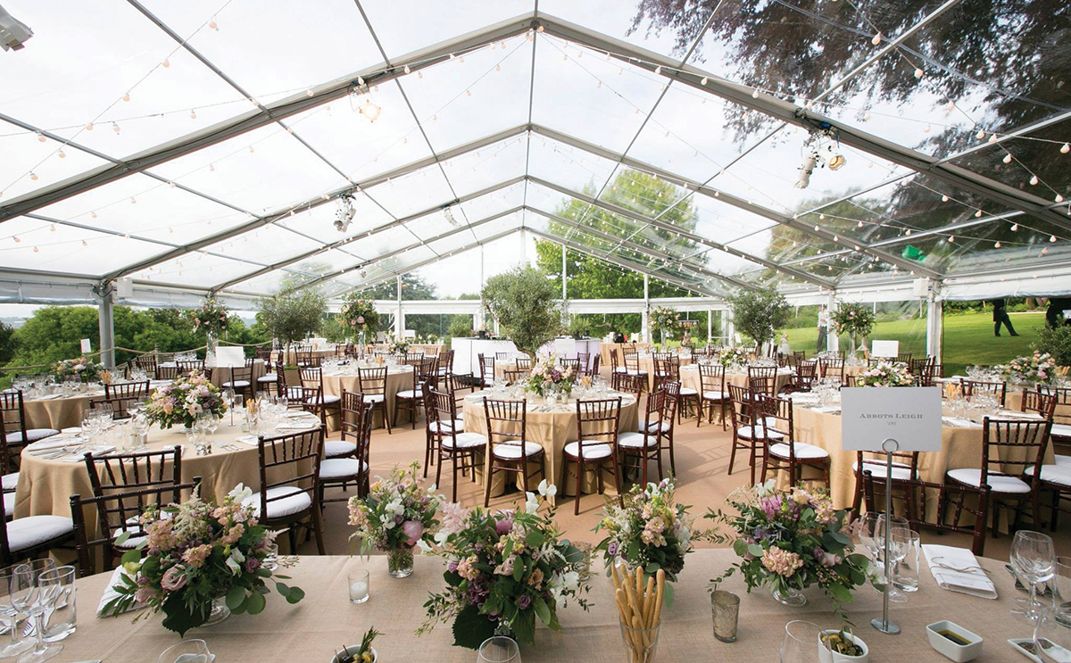 Dalswinton Estate's permanent marquee set for a wedding