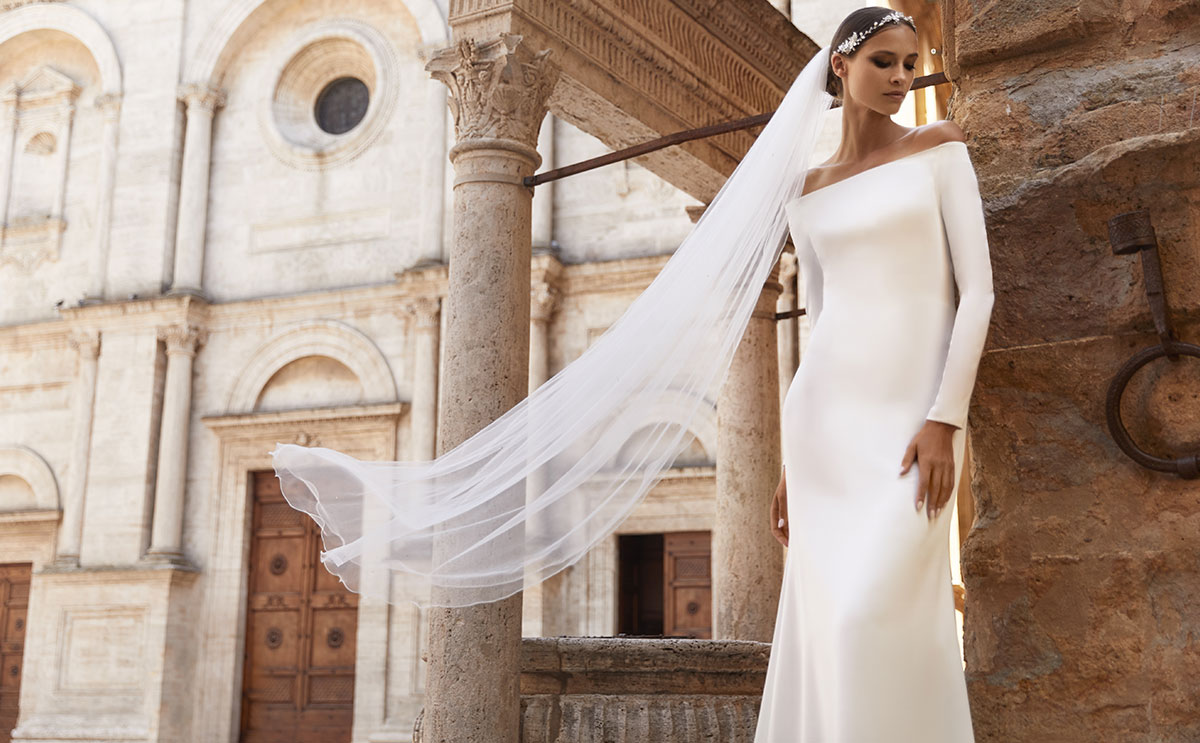 Tiffany gown by Bianco Evento, £POA, available at Sharon's Bridal Boutique