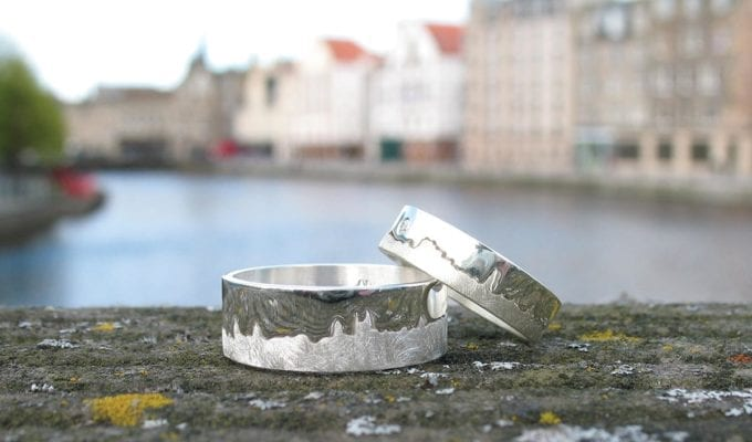 Skyline wedding rings