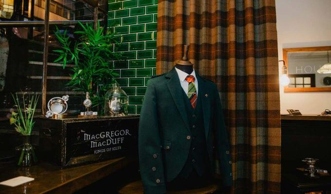 Tweed jacket and waistcoat on display at House Martin Barbers