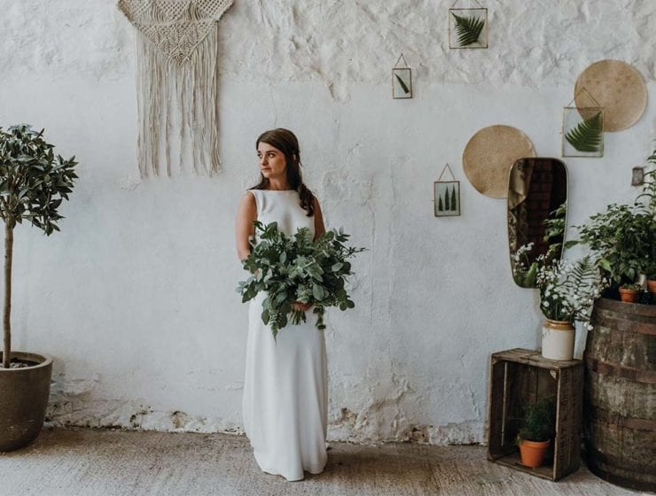 Styled bridal shoot with foliage bouquet