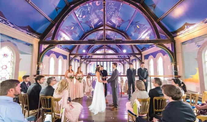 Bride and groom marrying in Oran Mor