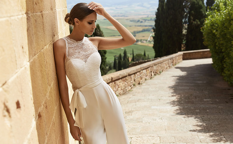 Samanta jumpsuit by Bianco Evento, £POA, available at Sharon's Bridal Boutique