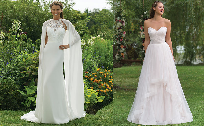 From left to right: Style 11002, £POA, and style 6158, both by Sweetheart by Justin Alexander, available at The Bridal Courtyard