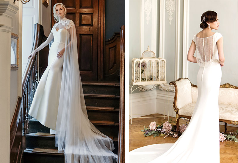 [Right] Gatsby-inspired gown with open back draped with strings of pearls (style W320) by True Bride, £POA, The Bridal Suite