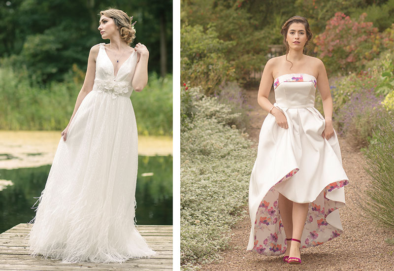 [Inset] Felicity dress with floral mikado lining and dipped hem, £900 [Left] Fifi ballgown with feather details and floral appliquéd waist, £1,250, both AJR Designs