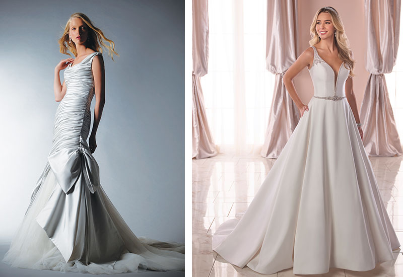 [Above left] Dorchester gown by Ian Stuart Bride, £POA [Above right] Style 6782F by Stella York, £POA, both Isobel Florence Bridal