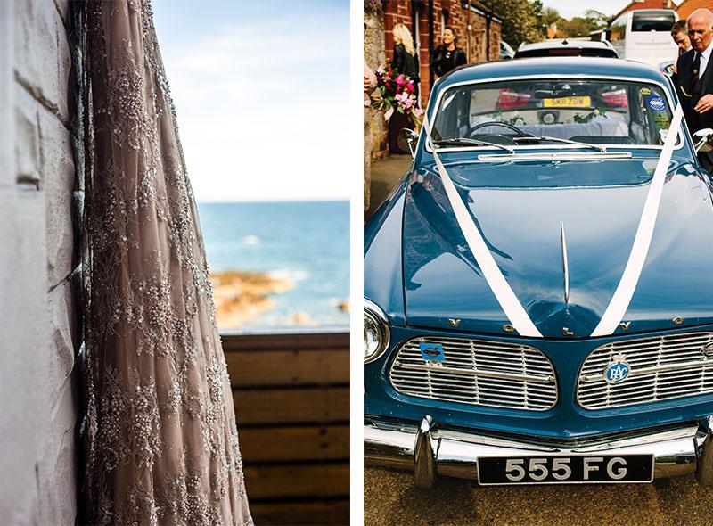 car and wedding dress