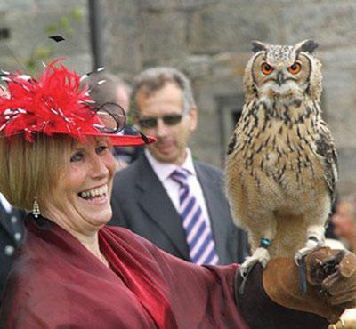 wedding guest with bird