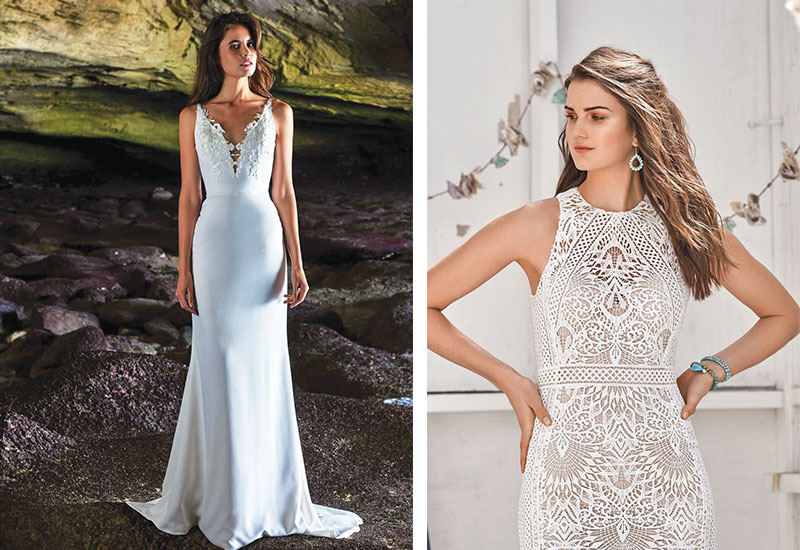 [Above left] Amelia gown by Elbeth Gillis, from £1,800 [Above right] Style 66055 by Lillian West, £POA, both Georgina Sheward Bridal