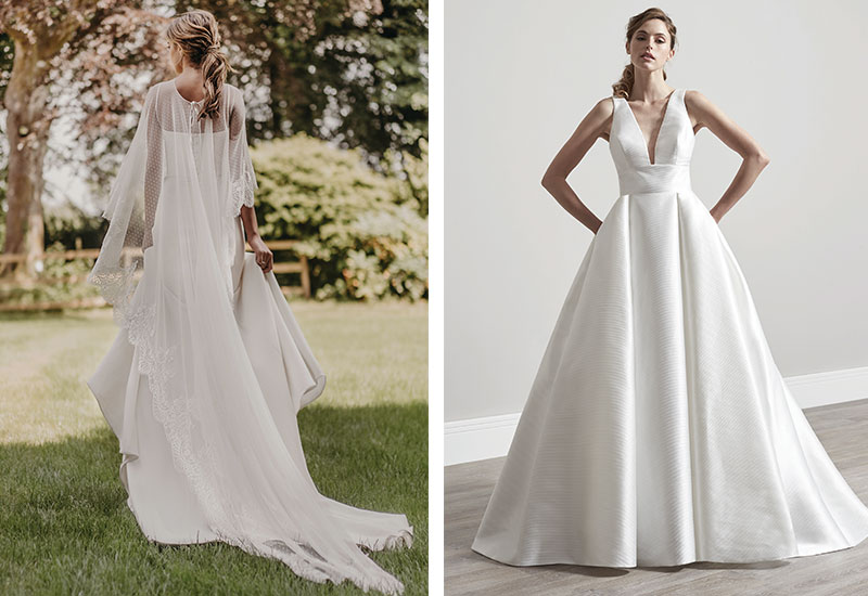 [Left] Susannah dress, £1,920, and Toronto cape, £580, both by Stephanie Allin [Far left] Verity gown by Sassi Holford, £2,690, both Ivory Grace