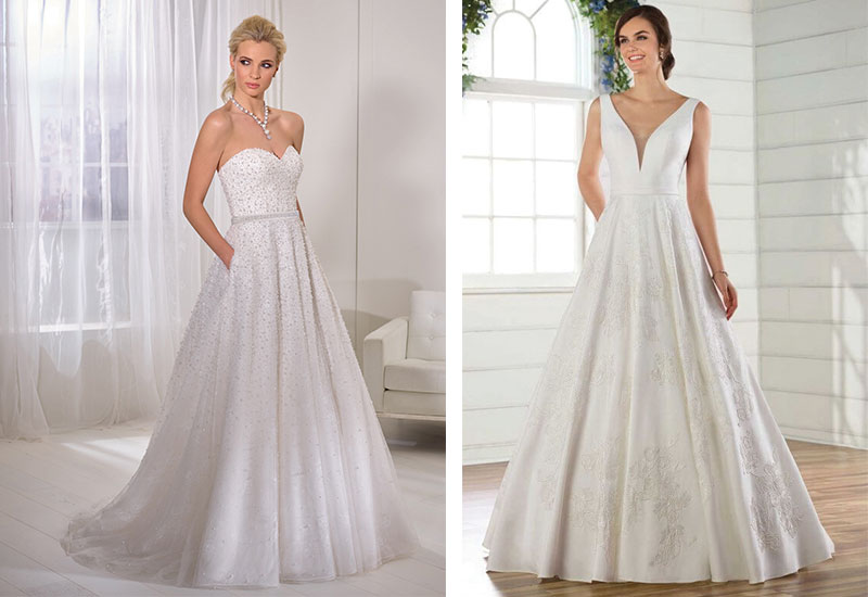 [Below left] Satin A-line dress with all-over beaded tulle (style 69362) by Ronald Joyce, £POA [Below right] Classic ballgown with lace details (style D2639) by Essense of Australia, £POA, both Katy's Company
