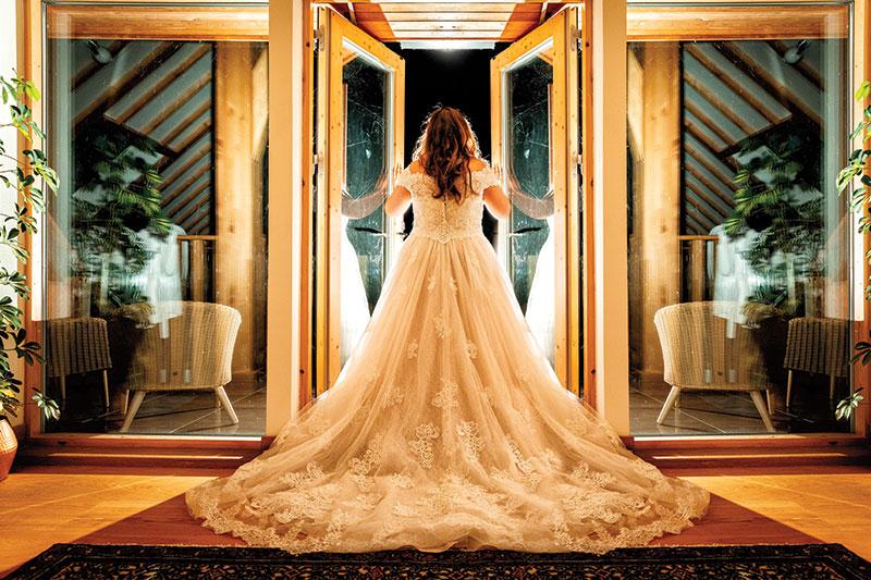 bride at doors