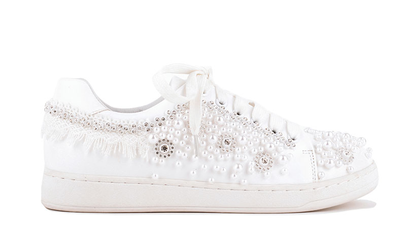 Zeera white pearl and crystal trainer, £59, Paradox London