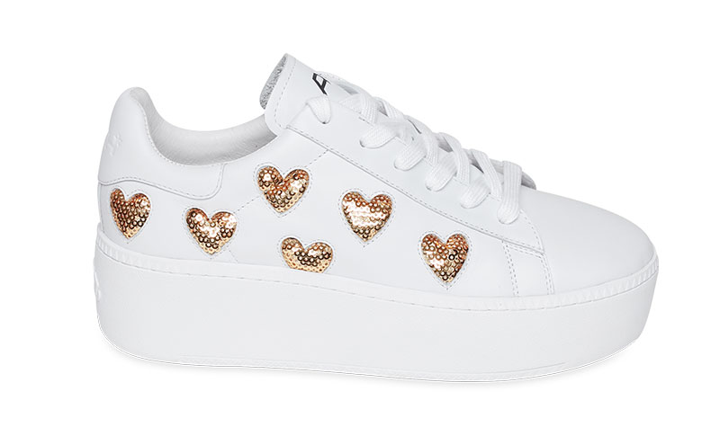 Trainers in white leather with gold heart sequins, £175, Ash