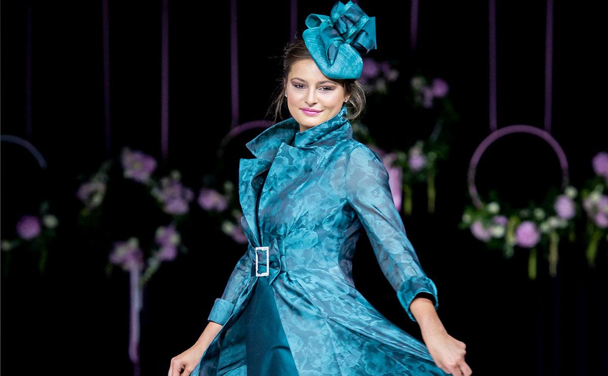 Organza coat and silk dress by Joyce Young Design Studios