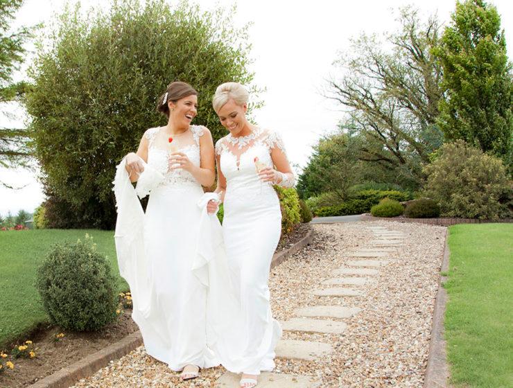 brides in garden