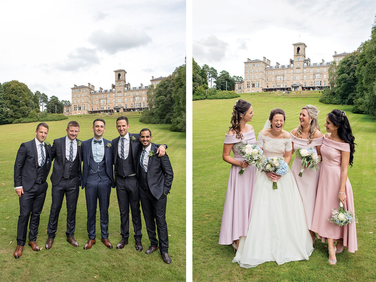 groom-and-groomsmen-and-bride-and-bridesmaids-outside-Dunblane-Hydro