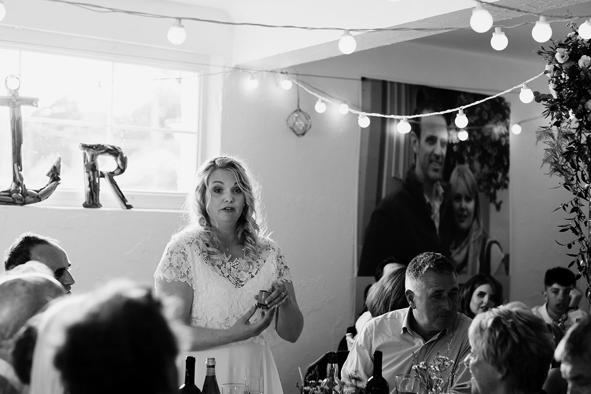 bride giving wedding speech