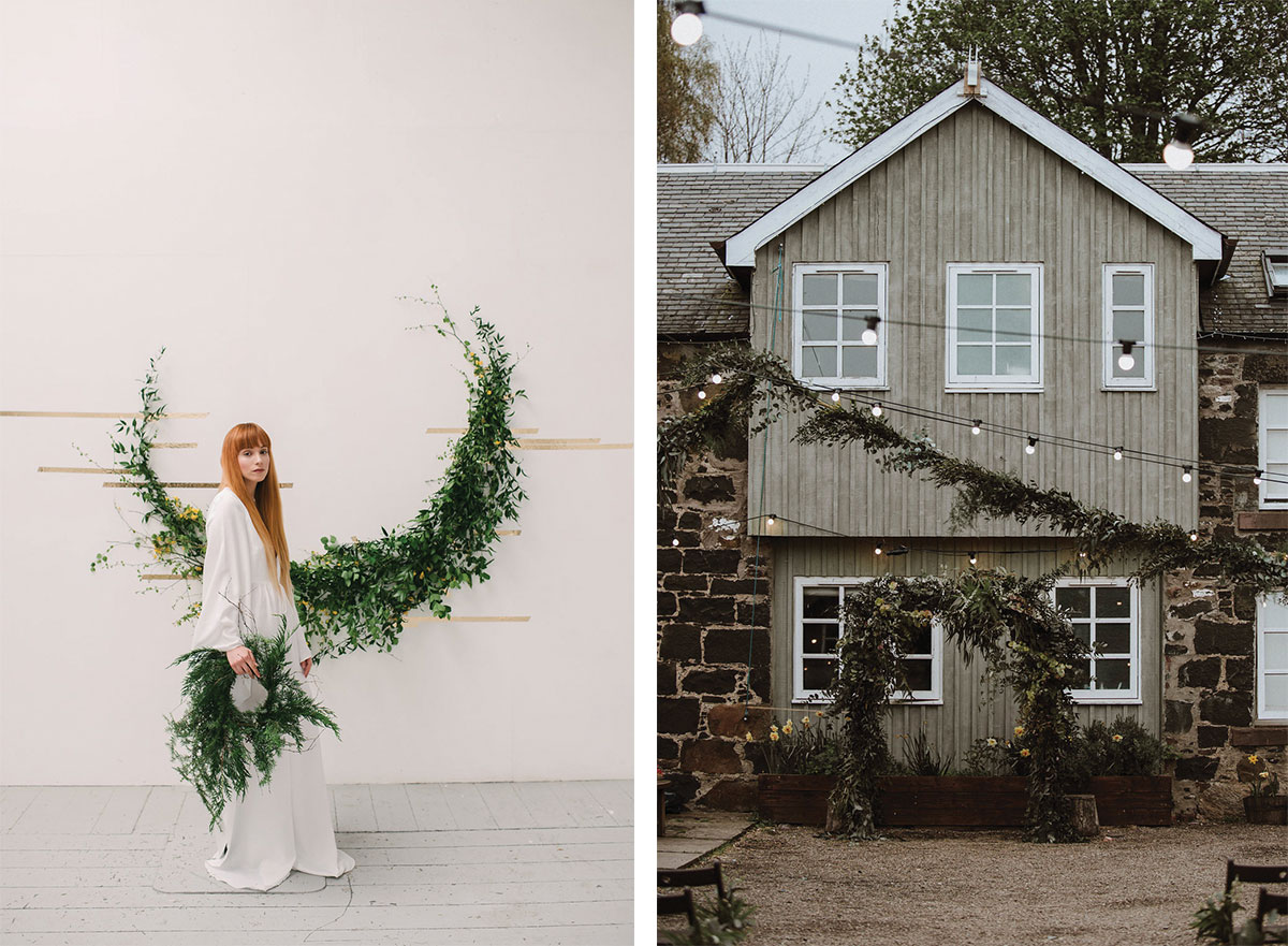 house covered in foliage and bride with foliage hoops
