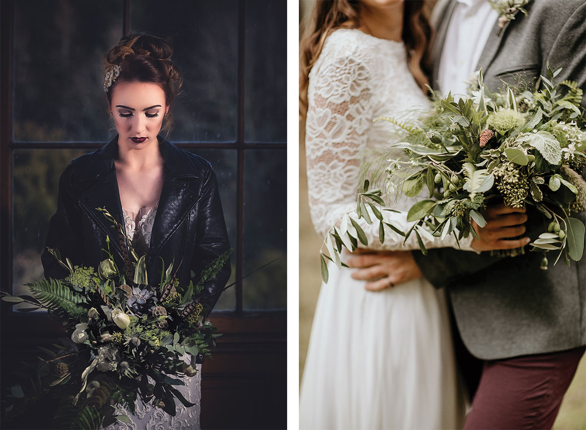 bride in leather jacket holding succulent bouquet and bride and groom with foliage bouquet