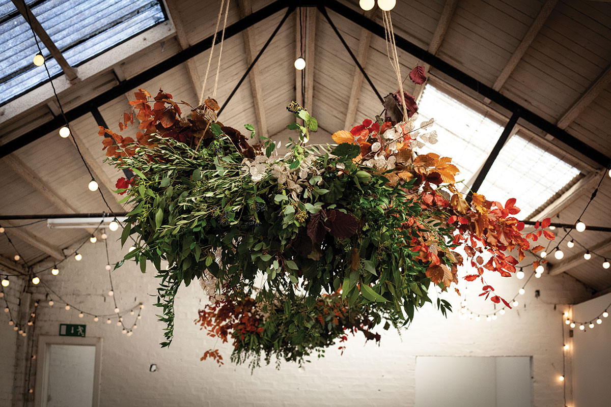 Mixed foliage chandelier