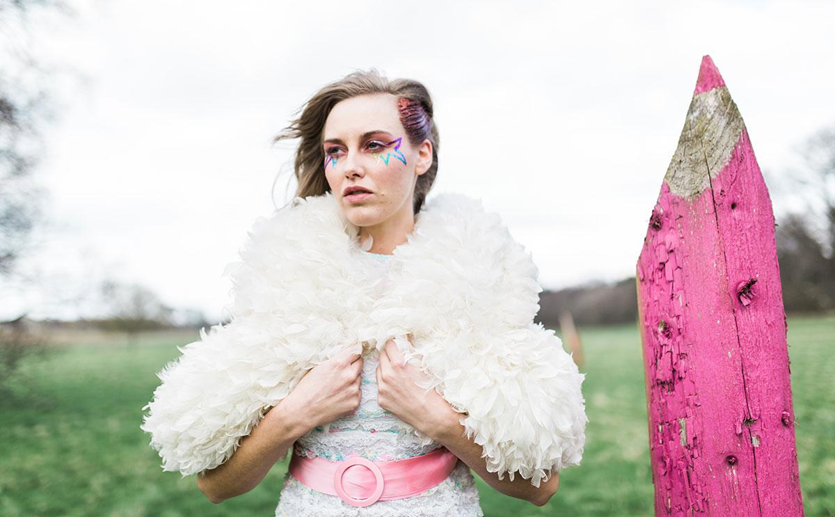 boho bridal shoot in field