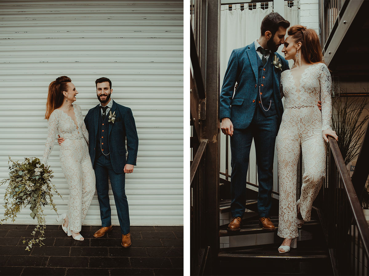 10bride-with-lace-jumpsuit-and-foliage-bouquet-and-groom-in-tweed-suit