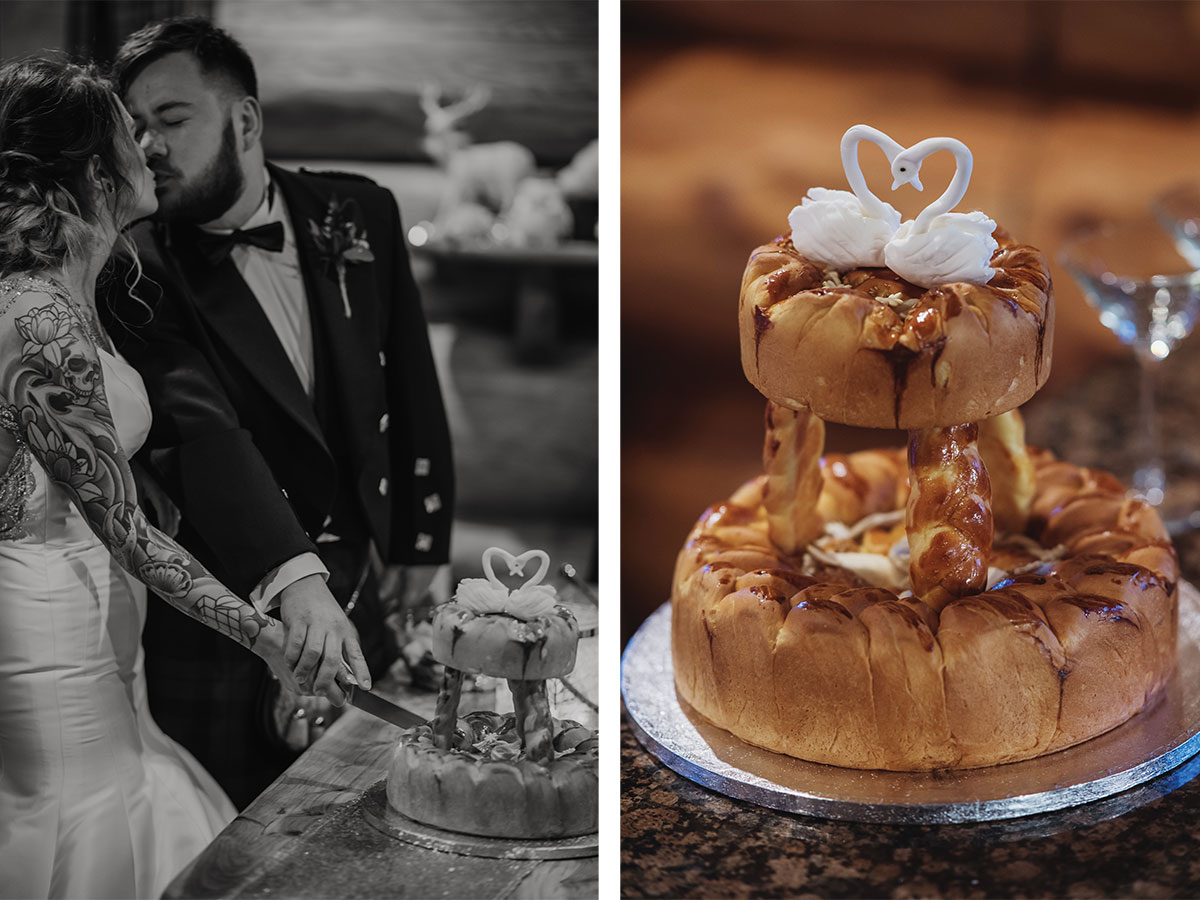 bride-and-groom-cutting-bread-and-cheese-cake