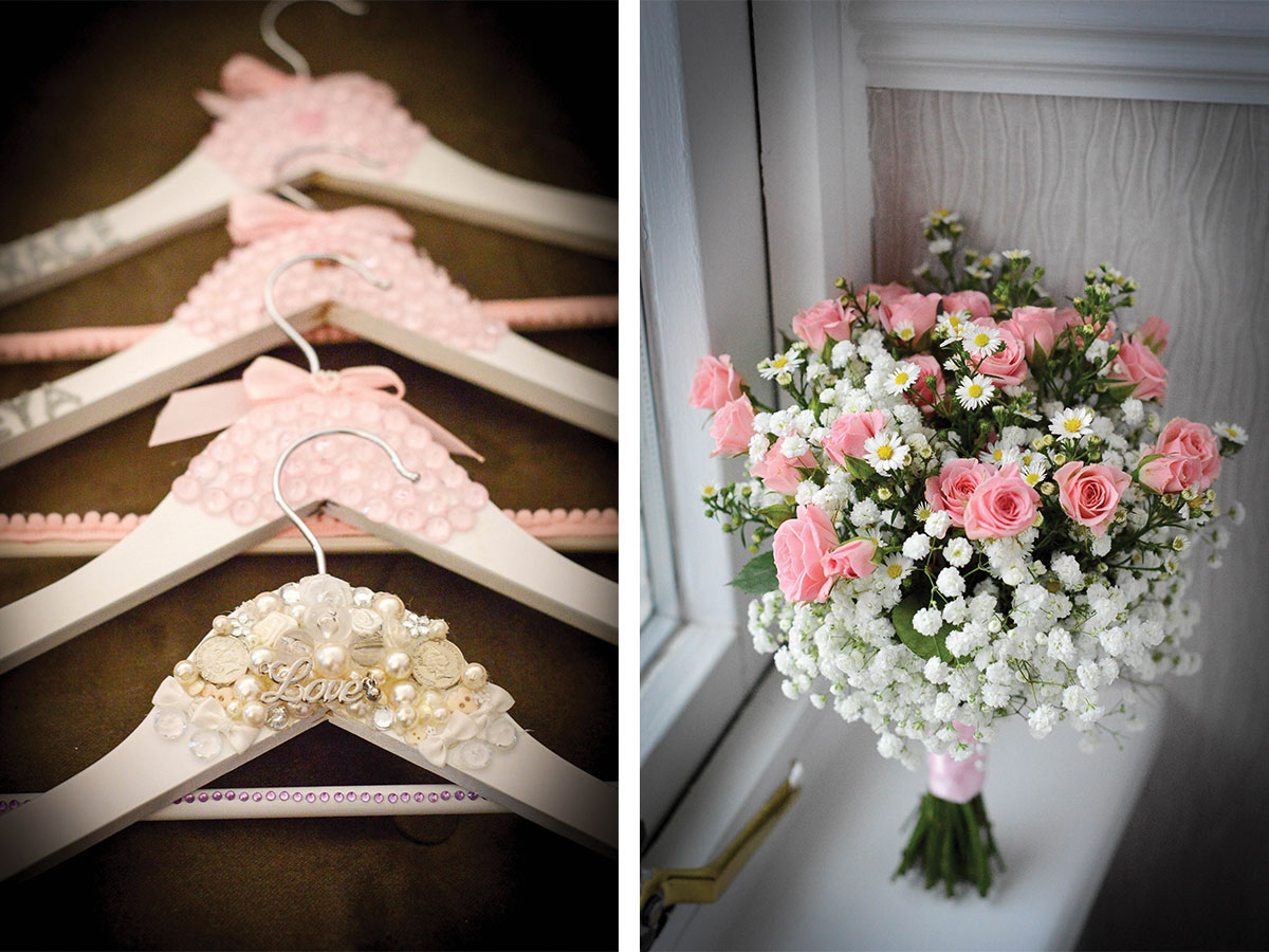 personalised-wedding-hangers-and-pink-bridal-bouquet