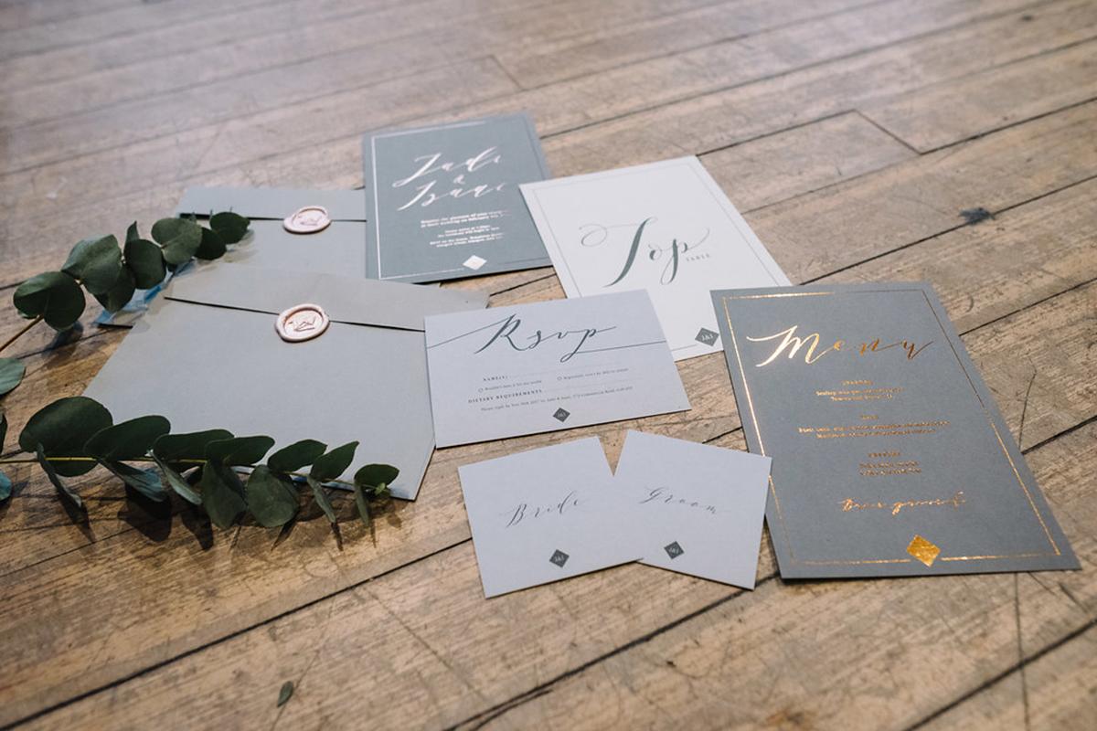 grey-wedding-stationery-with-calligraphy