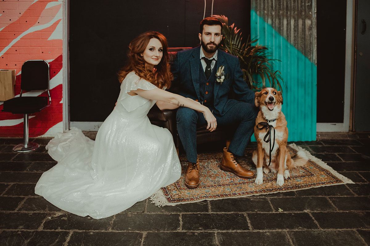 bride-and-groom-with-dog