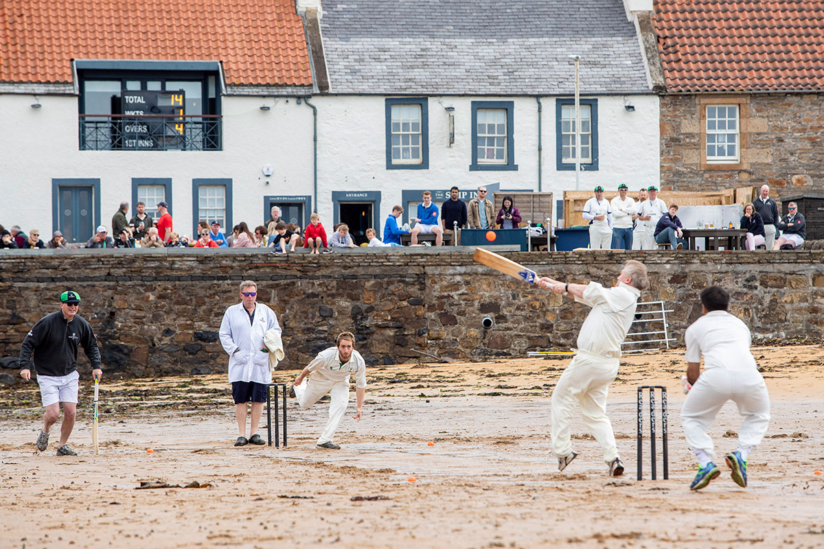 Beach cricket at ship's inn, elie