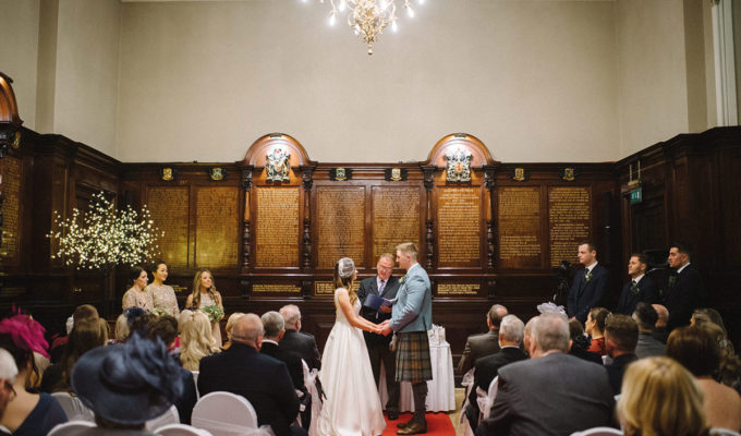 Wedding ceremony at Trades Hall, Glasgow