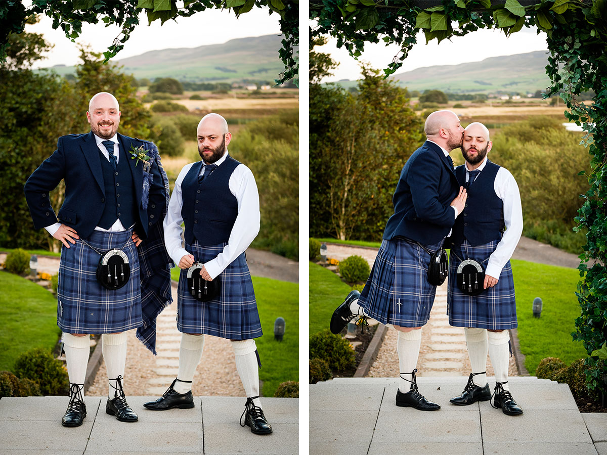 groom-and-groomsman-in-blue-tartan-kilt-outfits