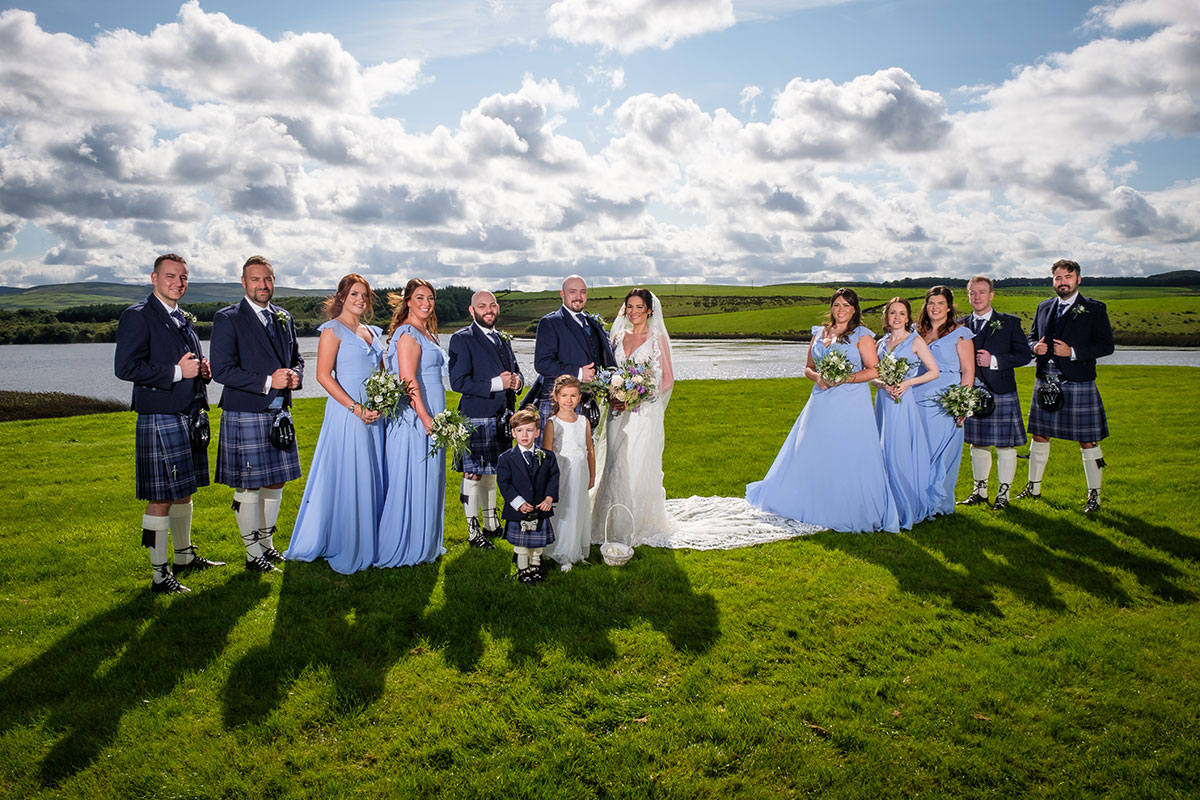 bridal-party-outside-in-the-sunshine