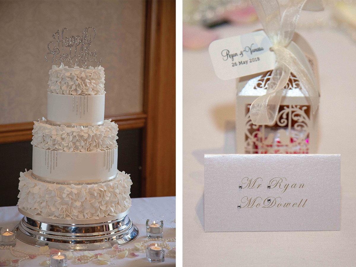 wedding-cake-with-diamontes-and-favour-bag
