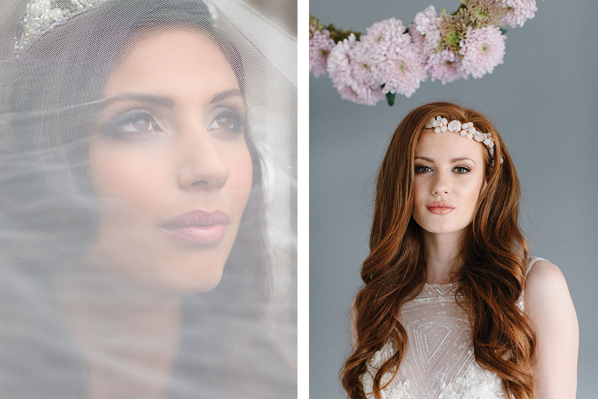 brunette-bride-and-redhead-bride-wearing-amatory-headpiece