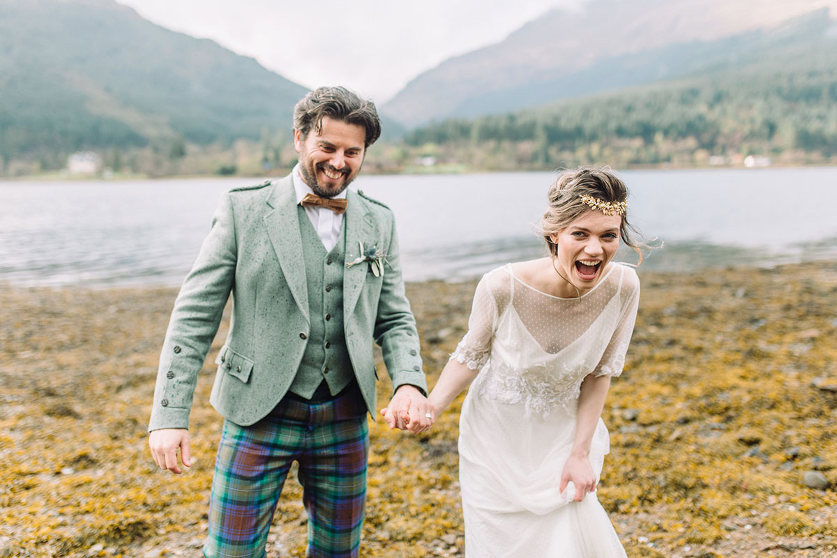 closeup-of-bride-and-groom-in-tweed-kilt-outfit
