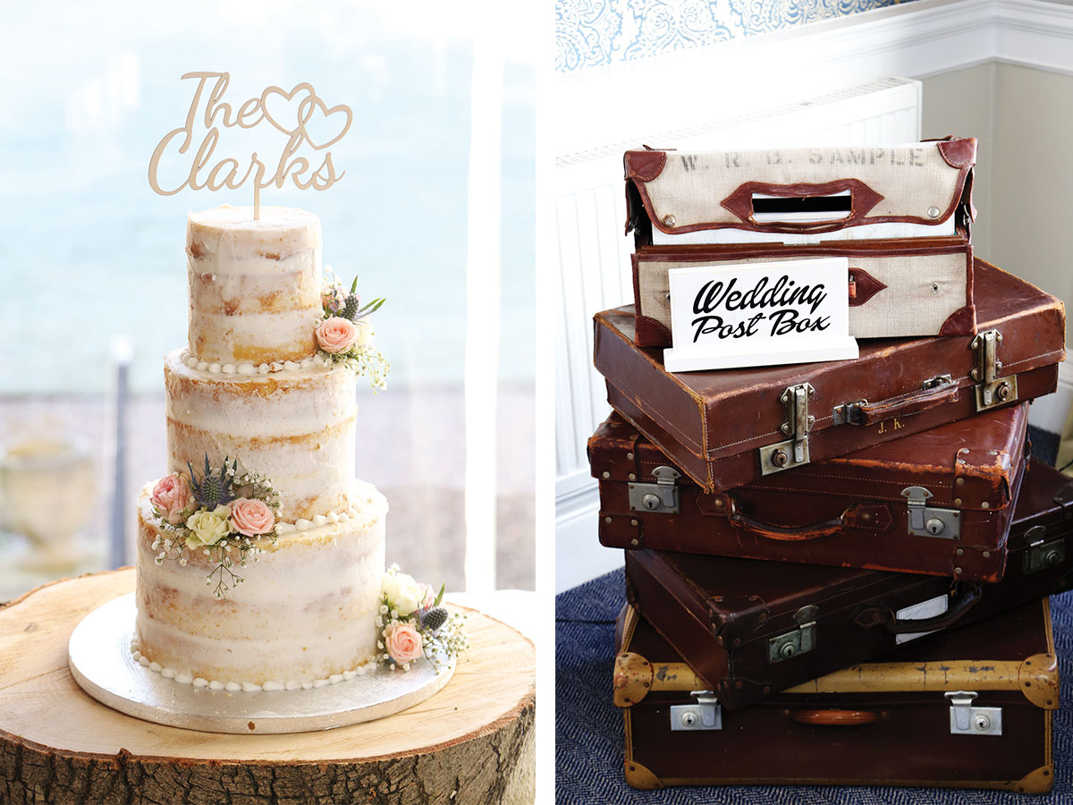floral-wedding-cake-and-vintage-suitcases-for-wedding-cards